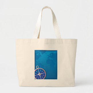 Compass Background Large Tote Bag
