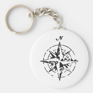 compass basic round button key ring