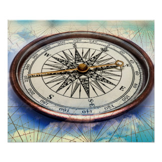 Compass Clouds Poster