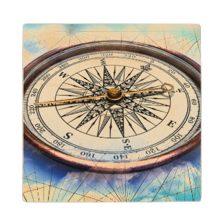 Compass Clouds Wood Coaster