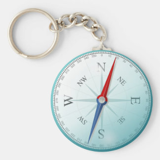 Compass East North South West Compass Rose Key Ring