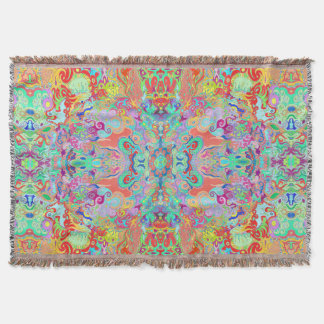 Compass Fractal Multi-colour Throw Blanket
