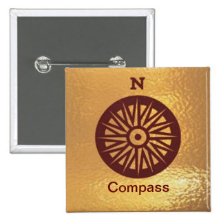 Compass Instrument Direction - Medal Icon Gold 15 Cm Square Badge