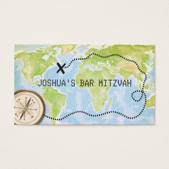 Compass Map Travel Bar Bat Mitzvah Placecard Business Card