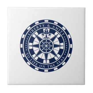 Compass, Nautical Star, Blue and White, Nautical Tile