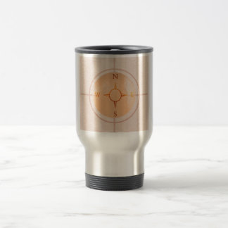 COMPASS NEWS North East West South 15 Oz Stainless Steel Travel Mug