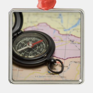 Compass on a map 2 christmas ornament