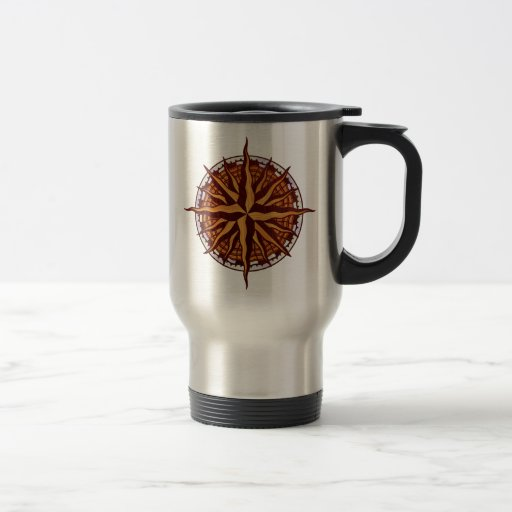 Compass Rode Wood Mug