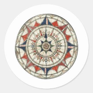 Compass Rose #5 Round Sticker