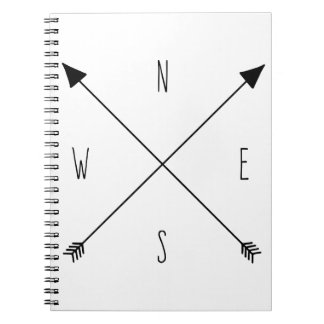 Compass Rose Arrows - North South East West Notebook