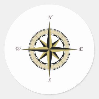 Compass Rose Art Round Sticker