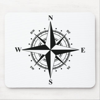 Compass Rose Black & White Mouse Mat