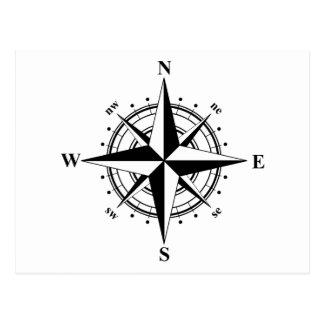 Compass Rose - Black & White Postcard