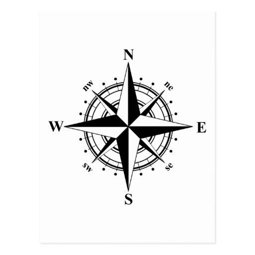 Compass Rose - Black & White Postcards