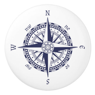Compass Rose Blue Ceramic Knob