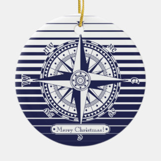 Compass Rose Blue Stripes Round Ceramic Decoration