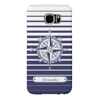 Compass Rose Blue Stripes Samsung Galaxy S6 Cases