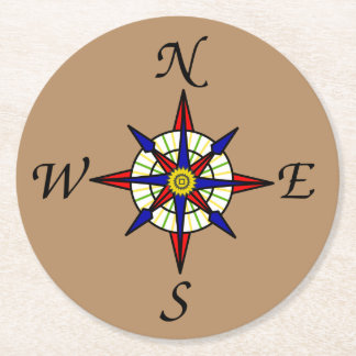 Compass Rose Brown Round Paper Coaster
