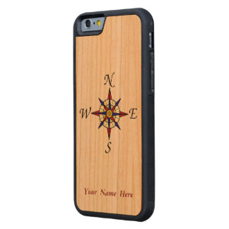 Compass Rose Carved Cherry iPhone 6 Bumper Case