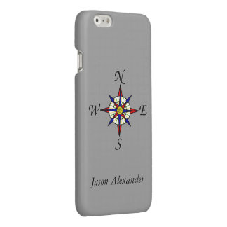 Compass Rose Gray Personalized iPhone 6 Plus Case