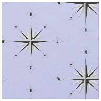 Compass Rose Nautical Blue Fabric