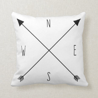 Compass Rose - North South East West Arrows Cushion