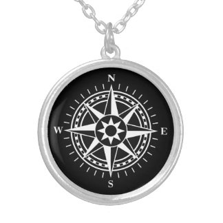 Compass rose on black background silver necklace