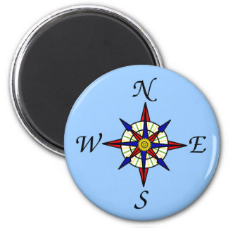 Compass Rose on Blue Magnet