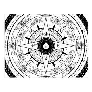 Compass Rose - Postcard (White)