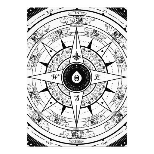 Compass Rose - Rectangle Invitation Card (White)