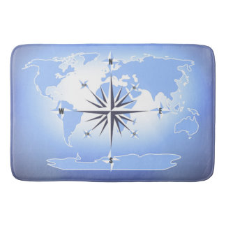Compass Rose Sailing Ocean Blue Bath Mat