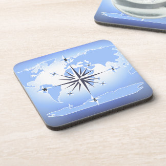 Compass Rose Sailing Ocean Blue Plastic Coaster