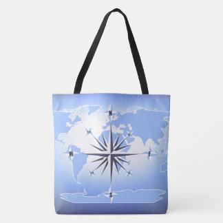 Compass Rose Sailing Ocean Blue Tote Bag