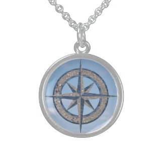 Compass Rose (Sand, Water, Sky) Sterling Silver Necklace