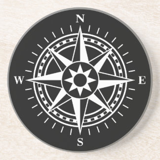 Compass rose sandstone coaster