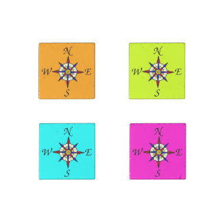 Compass Rose Set Bright Stone Magnet