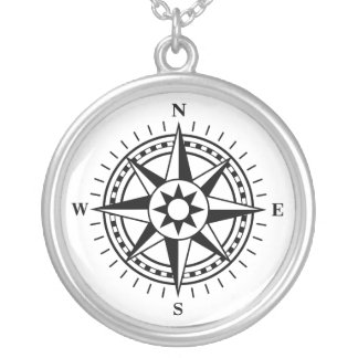 Compass rose silver necklace