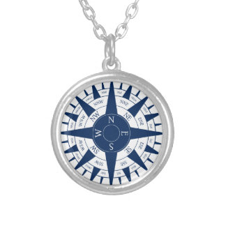 Compass Rose Silver Plated Necklace