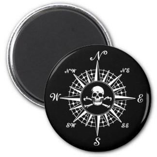 Compass Rose Skull 1 6 Cm Round Magnet