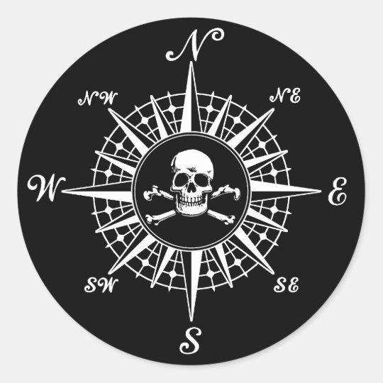 Compass Rose Skull 1 Classic Round Sticker