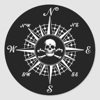 Compass Rose Skull 1 Round Sticker