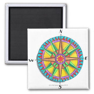 Compass Rose Square Magnet