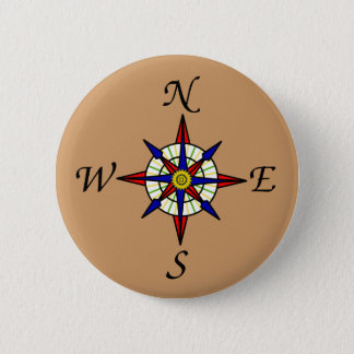 Compass Rose Tan 6 Cm Round Badge