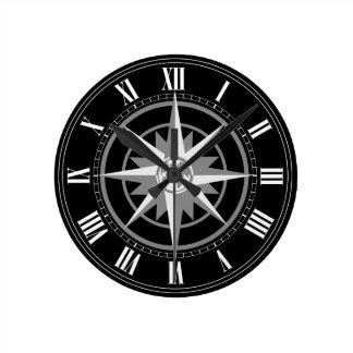 Compass Rose with Globe Round Clock