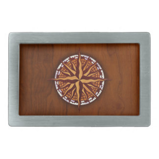 Compass Rose Wood Rectangular Belt Buckles
