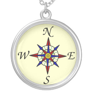 Compass Silver Plated Necklace
