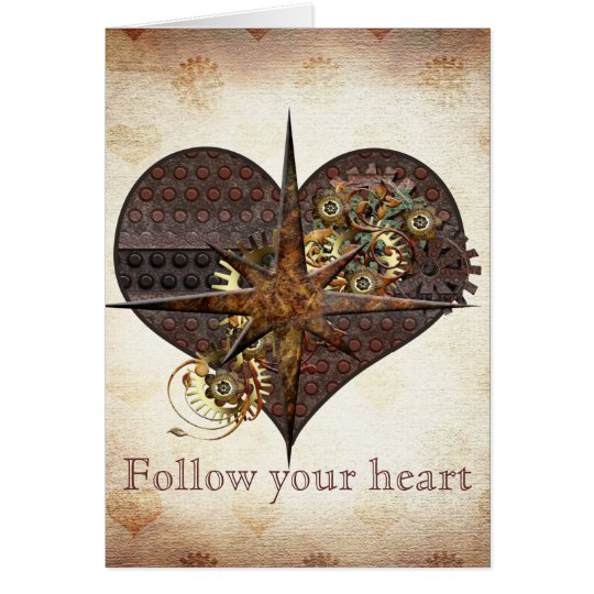 Compass Star and Heart Steampunk Valentine Card