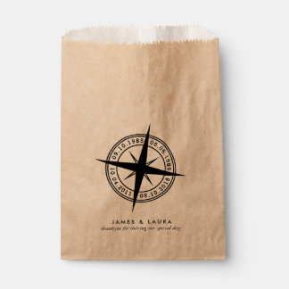 Compass with your special dates wedding favor bag favour bags