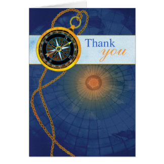 Compass + World Map Business Thank You Note Card