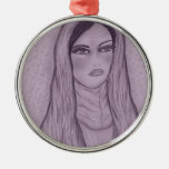 Compassionate Mary in Purple Christmas Tree Ornament